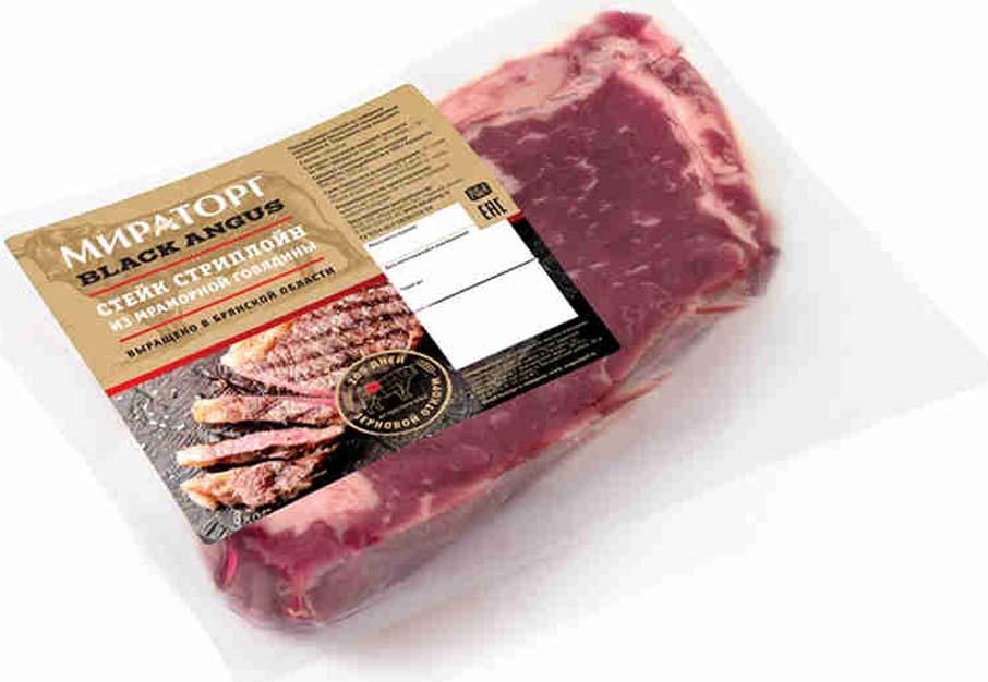 Стейк Стриплойн из мраморной говядины Black Angus Мираторг, 320 г поясничный отруб 1 3 стриплойн в вакуумной упаковке заречное