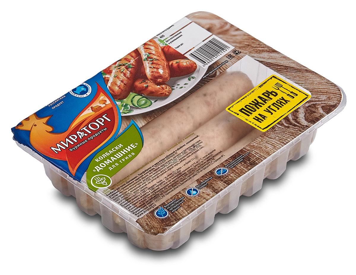 Колбаски Домашние для гриля из мяса птицы Мираторг, 400 г домашние птицы