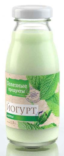 Полезные продукты Йогурт резервуарный Мята 1,5%, 190 г.; пудовъ мята сушеная 20 г