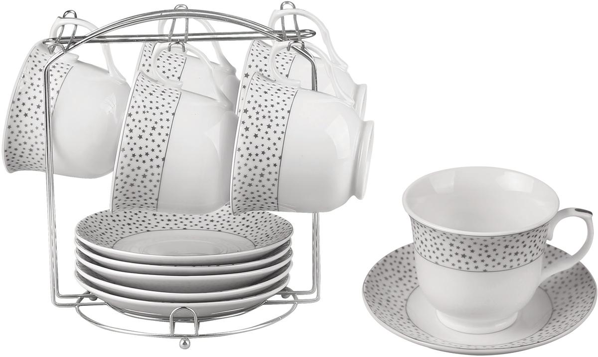 13 предметов: чашка - 6 шт (220 мл), блюдце - 6 шт (14 см), подставка метал. Состав: фарфор.