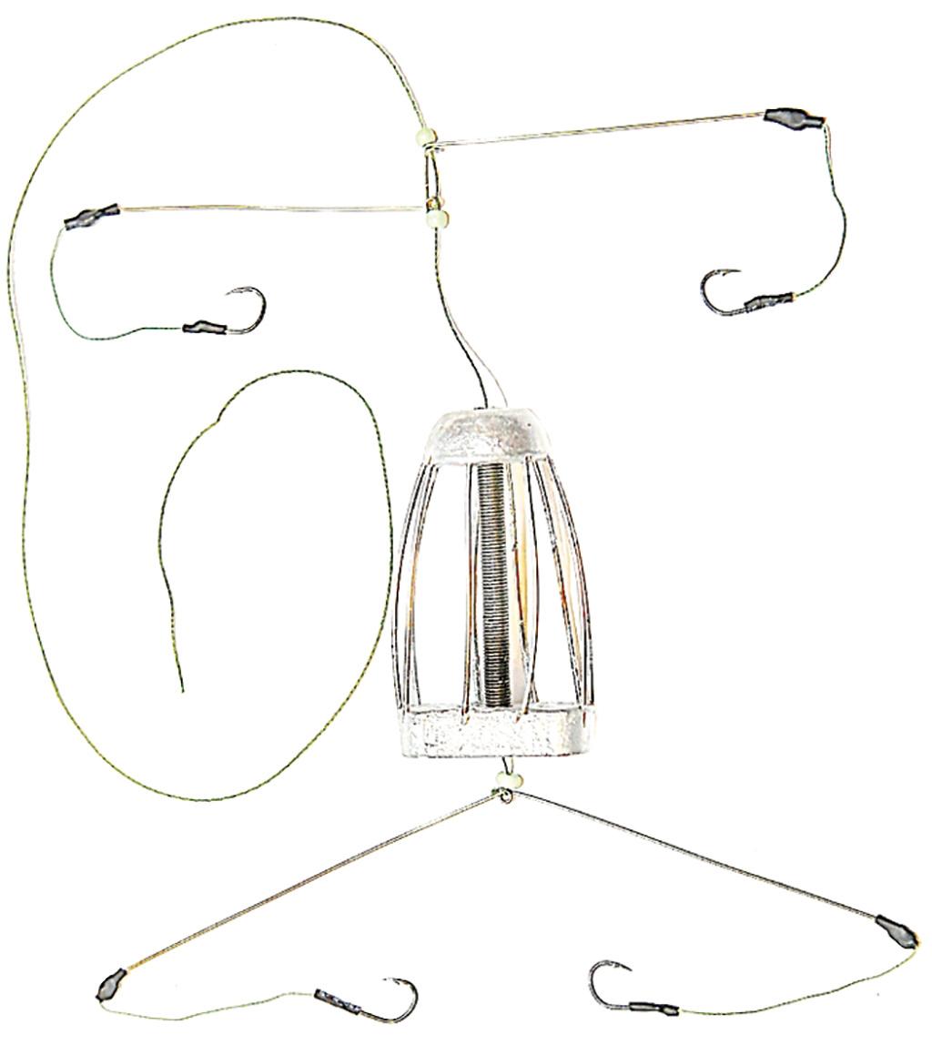 Кормушка для рыбы Монтаж ТК-4, оснащенная коромыслом и 2 отводами, 70 г