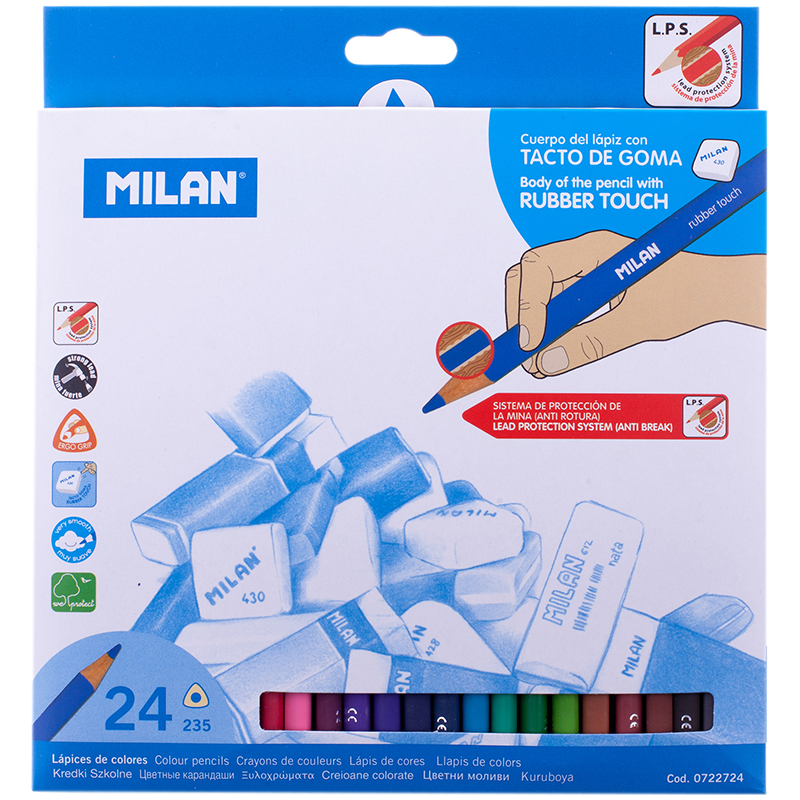 Milan Набор цветных карандашей 235 трехгранные 24 цвета карандаши восковые мелки пастель milan карандаши 235 24 цвета