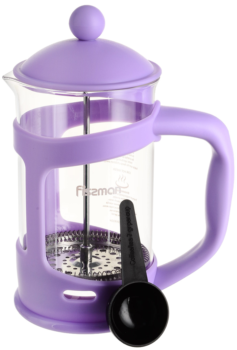 Чайник заварочный Fissman Gamma, с поршнем, цвет: сиреневый, 800 мл. 9038 цена