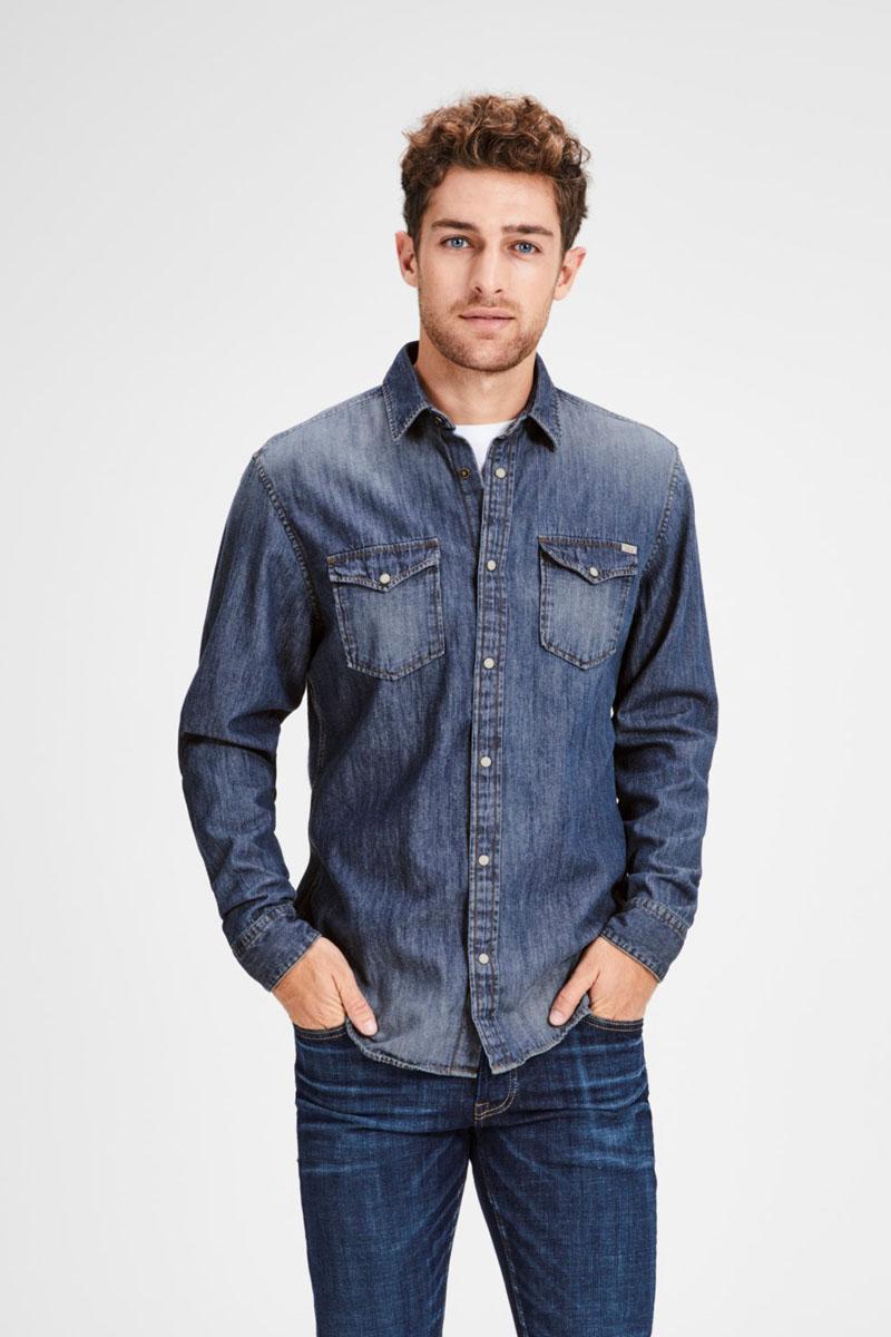 Рубашка мужская Jack & Jones, цвет: синий. 12138115. Размер XL (52)