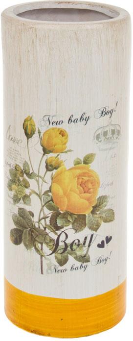 Ваза декоративная ArtHouse Куст розы, цвет: белый, мультиколор, высота 26 см. 60031