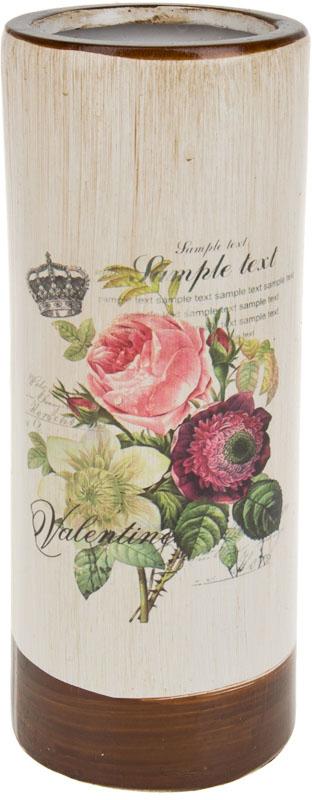 Ваза декоративная ArtHouse Куст розы, цвет: белый, мультиколор, высота 26 см. 60032