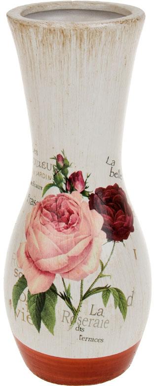 Ваза декоративная ArtHouse Куст розы, цвет: белый, мультиколор, высота 26 см. 60034