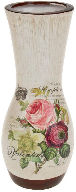 Ваза декоративная ArtHouse Куст розы, цвет: белый, мультиколор, высота 26 см. 60035
