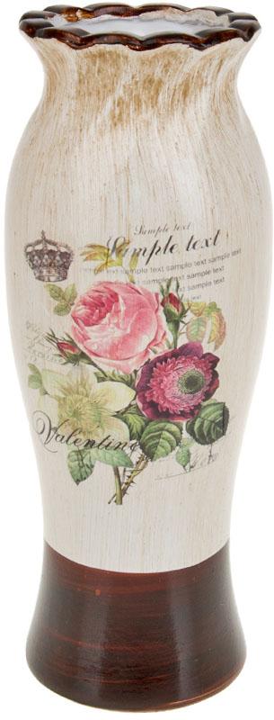 Ваза декоративная ArtHouse Куст розы, цвет: белый, мультиколор, высота 31 см. 60037 ваза декоративная феникс презент высота 22 3 см