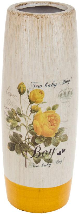 Ваза декоративная ArtHouse Куст розы, цвет: белый, мультиколор, высота 30,5 см