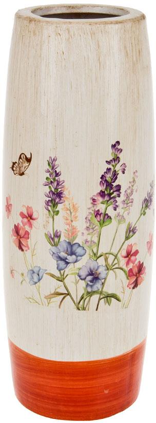 Ваза декоративная ArtHouse Луговые цветы, цвет: белый, мультиколор, высота 30,5 см ваза декоративная феникс презент высота 22 3 см