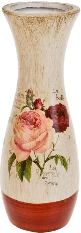 Ваза декоративная ArtHouse Куст розы, цвет: белый, мультиколор, высота 31 см. 60041 ваза декоративная феникс презент высота 22 3 см