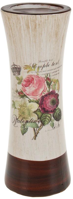 Ваза декоративная ArtHouse Куст розы, цвет: белый, мультиколор, высота 31 см. 60042