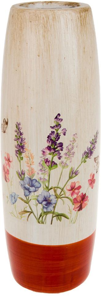 Ваза декоративная ArtHouse Луговые цветы, цвет: белый, мультиколор, высота 40 см