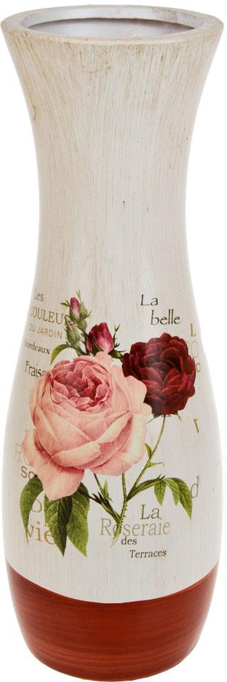 Ваза декоративная ArtHouse Куст розы, цвет: белый, мультиколор, высота 40 см. 60047