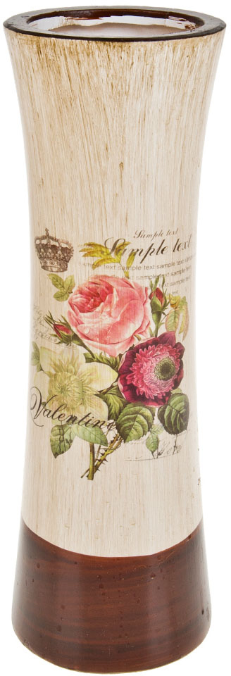 Ваза декоративная ArtHouse Куст розы, цвет: белый, мультиколор, высота 40 см. 60048