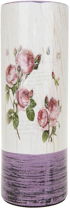 Ваза для цветов ArtHouse Кустовая роза, цвет: белый, сиреневый, высота 29 см. 70405 мини наушники bluetooth стерео музыка беспроводная гарнитура шумоподавляющие наушники для iphone xiaomi huawei vivo oppo lenvo