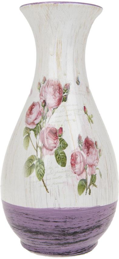 Ваза для цветов ArtHouse Кустовая роза, цвет: белый, сиреневый, высота 29 см. 70407 вазы pavone ваза розы