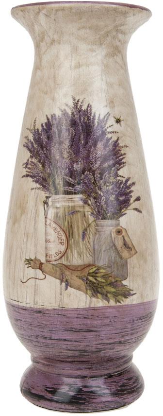 Ваза для цветов ArtHouse Букет лаванды, цвет: белый, сиреневый, высота 28,5 см