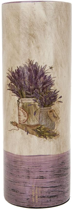 Ваза для цветов ArtHouse Букет лаванды, цвет: белый, сиреневый, высота 25,5 см