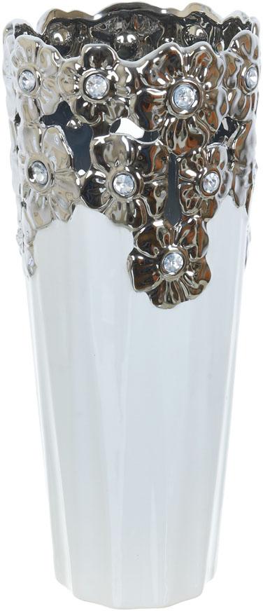 Ваза декоративная ENS Group Серебристое кружево, цвет: белый, высота 36,5 см