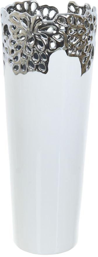 Ваза декоративная ENS Group Серебристое кружево, цвет: белый, высота 40,5 см