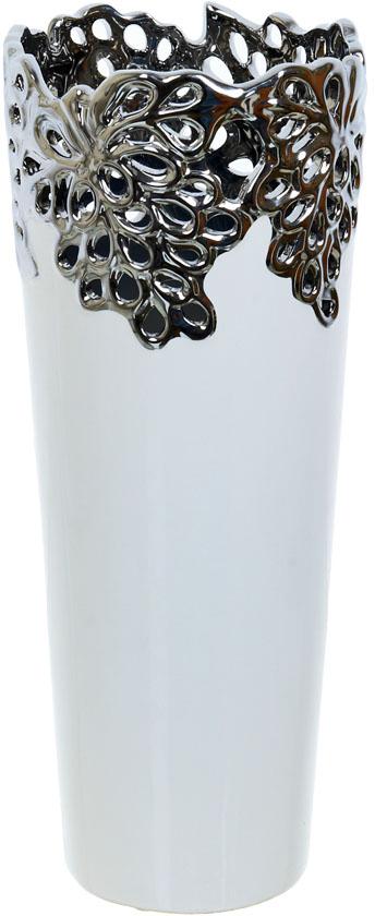 Ваза декоративная ENS Group Серебристое кружево, цвет: белый, высота 35,5 см