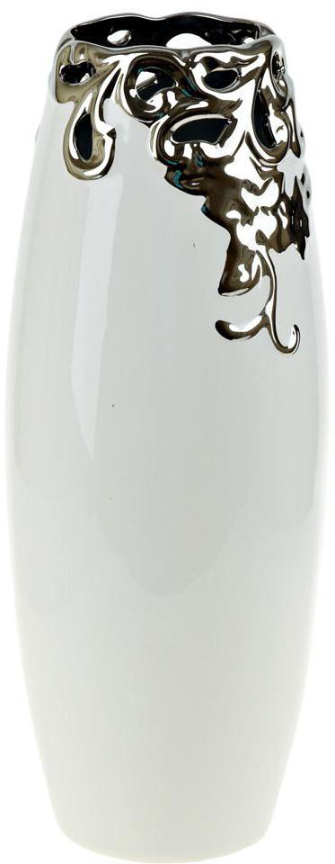 Ваза декоративная ENS Group Серебряный цветок, цвет: белый, высота 38 см