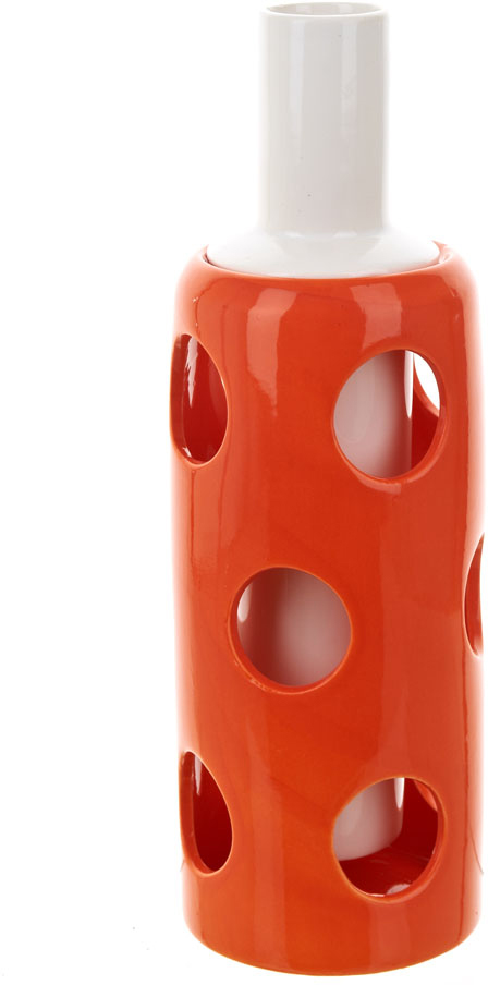 Ваза декоративная ENS Group Горох, с вкладышем, цвет: белый, оранжевый, высота 26 см