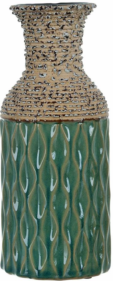 Ваза декоративная ENS Group Кэролайн, цвет: зеленый, высота 23,5 см