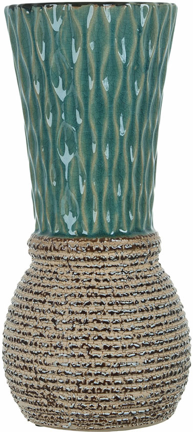 Ваза декоративная ENS Group Кэролайн, цвет: зеленый, высота 25,5 см