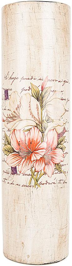 Ваза декоративная ENS Group Восточная лилия, цвет: белый, мультиколор, высота 38,5 см. 3020008