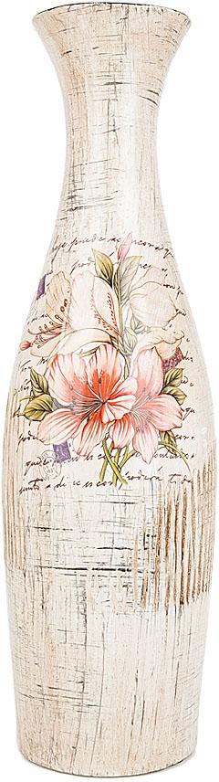 Ваза декоративная ENS Group Восточная лилия, цвет: белый, мультиколор, высота 38,5 см. 3020011
