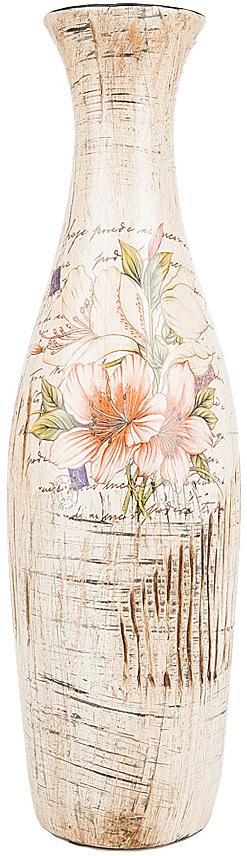 Ваза декоративная ENS Group Восточная лилия, цвет: белый, мультиколор, высота 32,5 см
