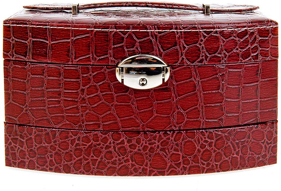 Шкатулка для ювелирных украшений ENS Group Стиль, цвет: красный, 21,5 х 15,5 х 13 см