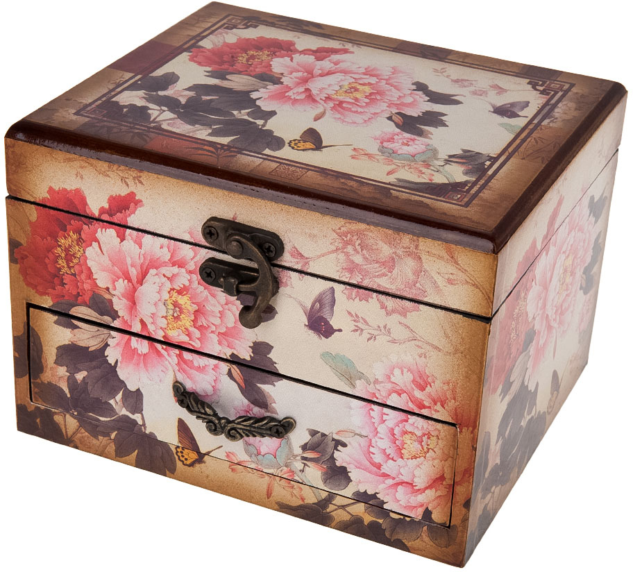 Шкатулка для ювелирных украшений ENS Group Махровые пионы, 17 х 14,5 х 12 см