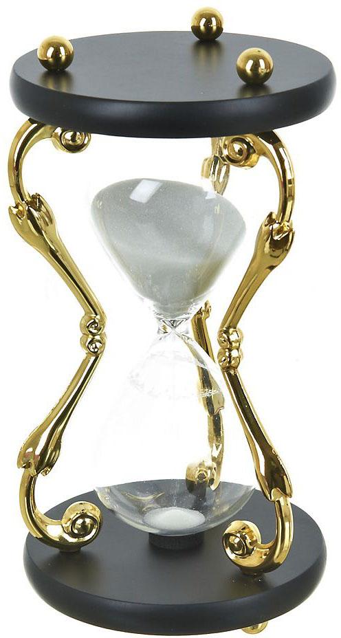 Часы песочные ENS Group, цвет: золотистый, прозрачный, на 30 минут, высота 21 см