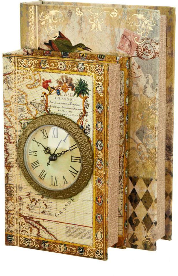 Шкатулка с часами ENS Group Дуэт, цвет: коричневый, 26 х 17 х 11,5 см ens group шкатулка гейша 8х12х12 см