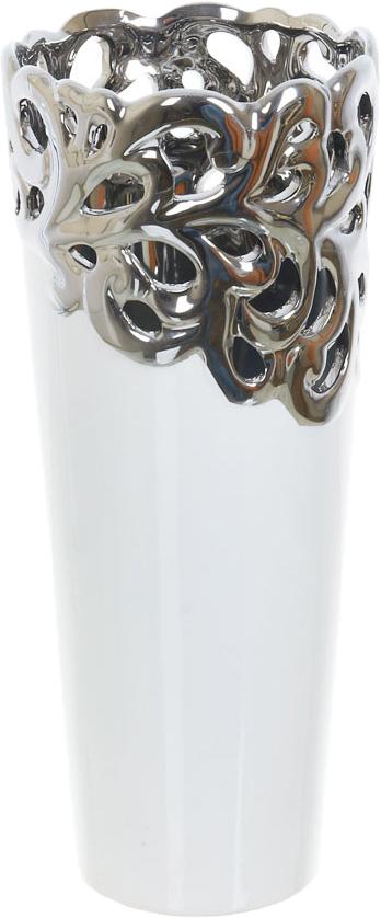 Ваза декоративная ENS Group Серебристое кружево, цвет: белый, высота 33 см