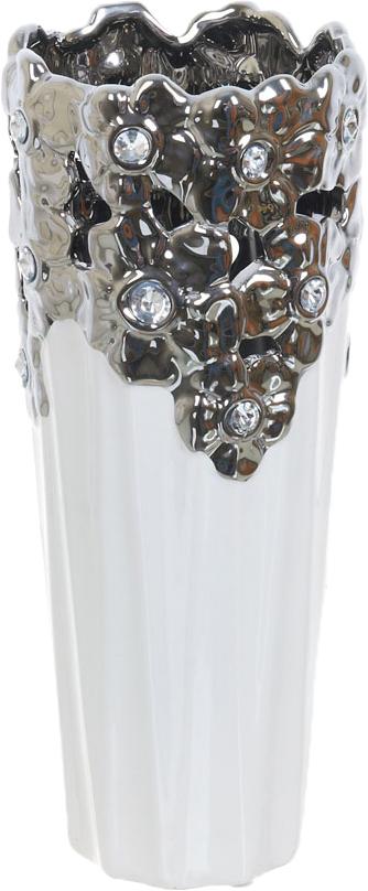 Ваза декоративная ENS Group Серебристое кружево, цвет: белый, высота 32 см