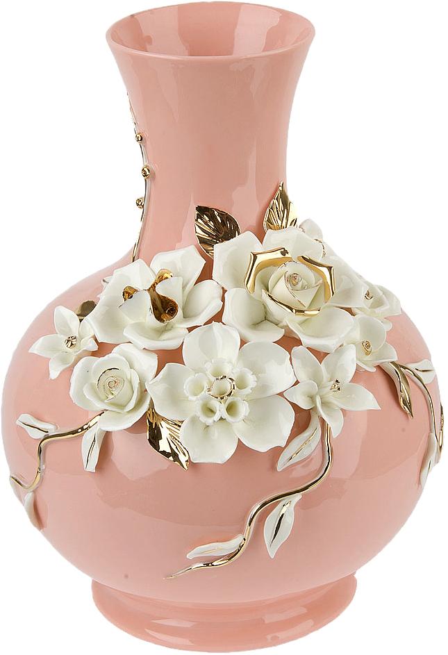 """Ваза декоративная ArtHouse """"Цветочное колье"""", цвет: розовый, высота 30,5 см"""