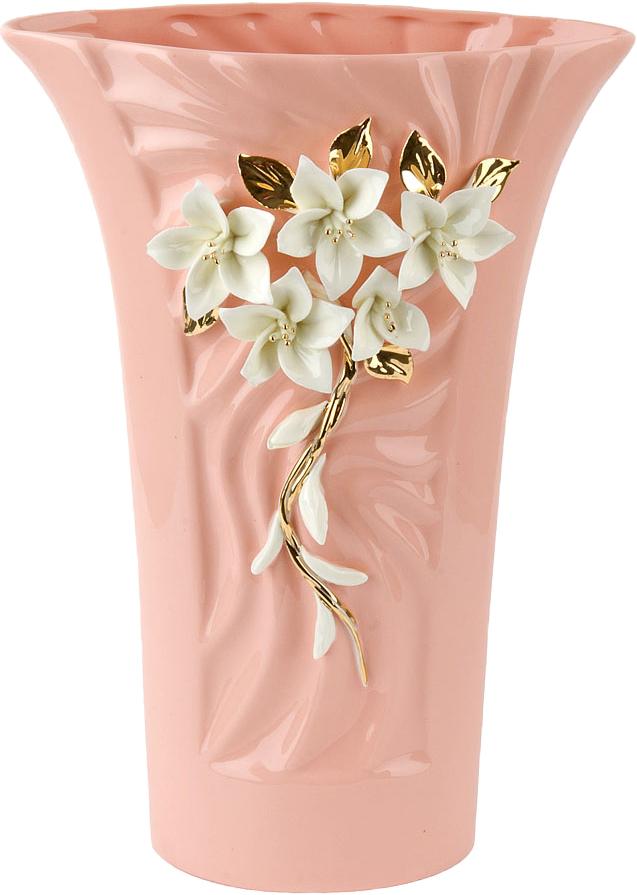 """Ваза декоративная ArtHouse """"Цветочное колье"""", цвет: розовый, высота 29 см"""