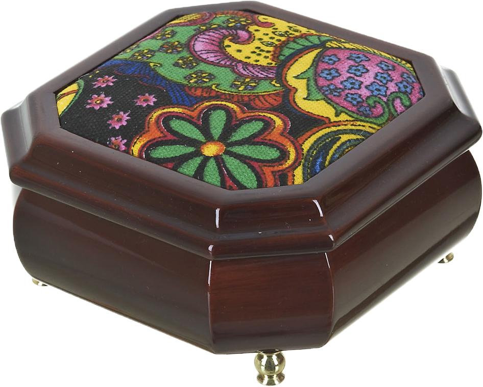 Шкатулка для ювелирных украшений ArtHouse Цветочная поляна, цвет: коричневый, 15 х 15 х 8 см. 5800044 пеналы маша и медведь пенал цветочная поляна 22111