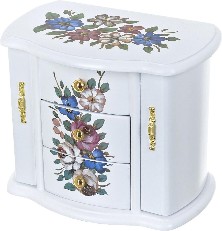 Шкатулка для ювелирных украшений ArtHouse Цветочный каприз, цвет: белый, мультиколор, 21 х 13 х 17 см