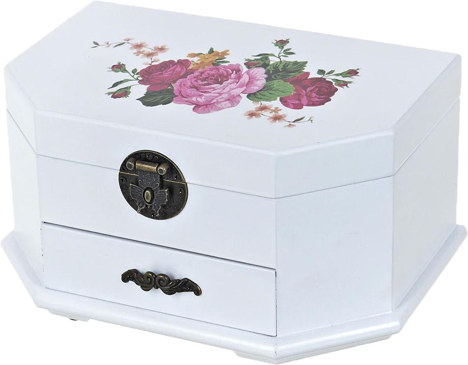 Шкатулка для ювелирных украшений ArtHouse Цветочный каприз, цвет: белый, розовый, 24 х 16 х 12 см
