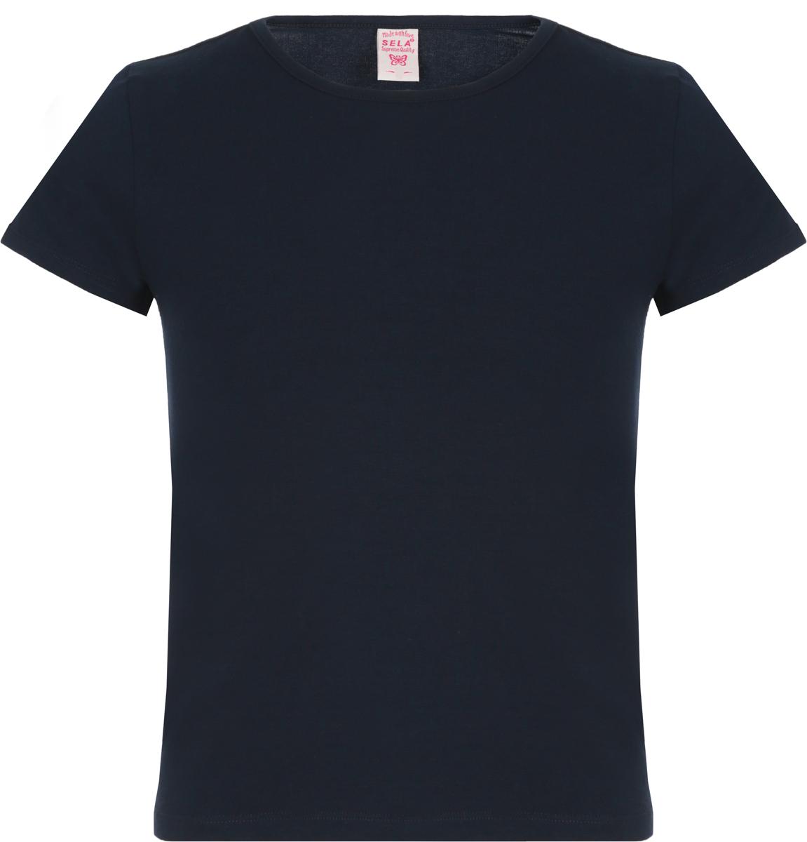 Футболка для девочки Sela, цвет: темно-синий. Ts-611/1276-8330. Размер 158 спортивный костюм для девочки adidas yg hood pes ts цвет розовый темно синий bs2151 размер 116