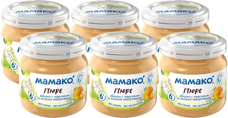 Мамако пюре из яблок с персиками и козьим творогом, 6 шт по 80 г пюре мамако пюре яблоко и козий творожок с 6 мес 80 г