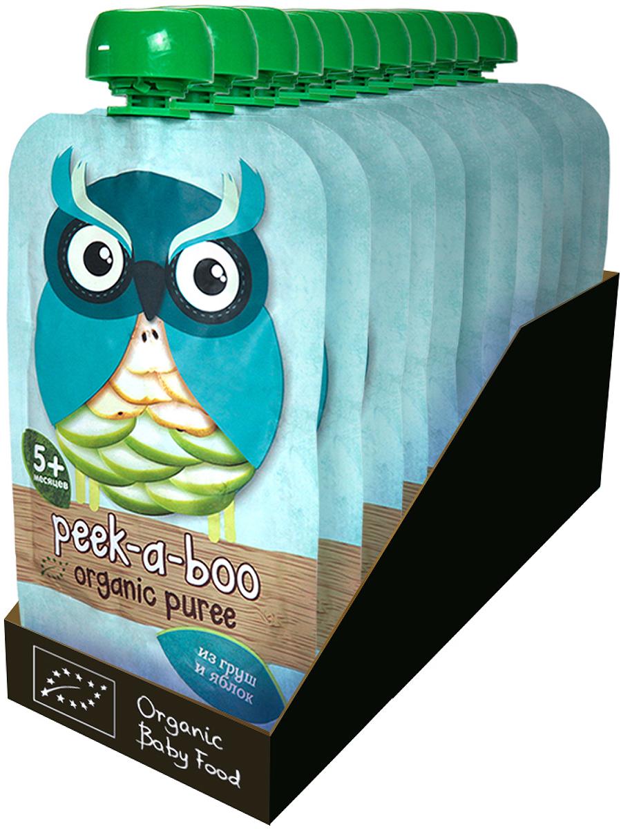 Пюре Peek-a-boo органическое яблоко, груша с 4 месяцев, 12 шт по 113 г peek a boo пюре яблоко с 4 месяцев 113г