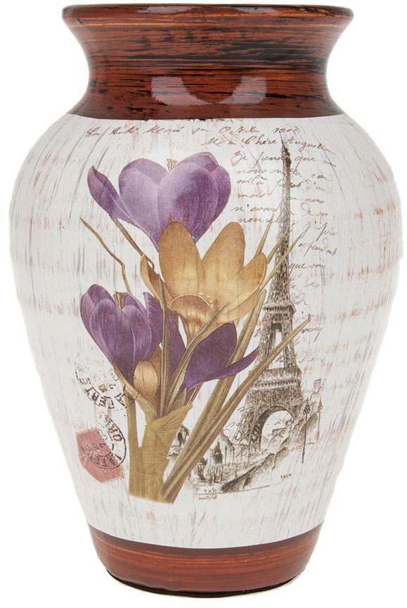 Ваза для цветов ArtHouse Крокусы, : белый, коричневый, высота 22 см
