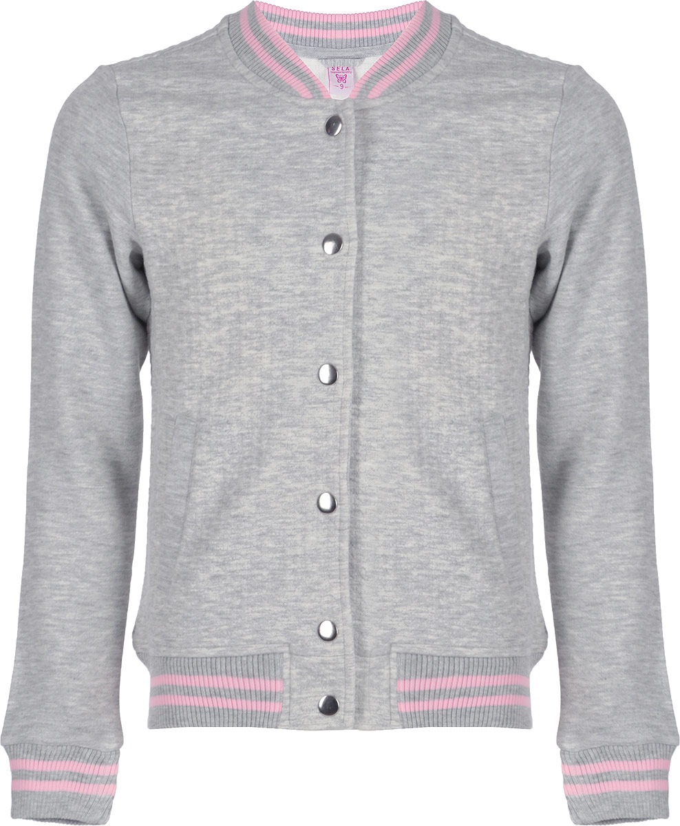 Куртка для девочки Sela, цвет: светло-серый меланж. Ck-623/960-8310. Размер 152